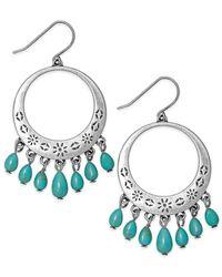 Lauren by Ralph Lauren | Metallic Silver-Tone Turquoise Bead Gypsy Hoop Earrings | Lyst