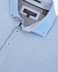Ted Baker - Blue Woven Collar Polo Shirt for Men - Lyst