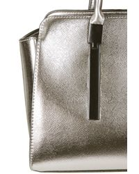 TOPSHOP - Metallic Hinge Plate Holdall Pewter - Lyst