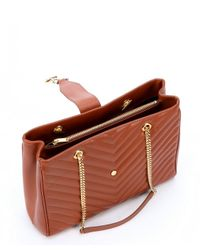 Saint Laurent - Brown Tan Chevron Quilted Leather 'Ysl' Shoulder Bag - Lyst