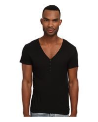 Emporio Armani | Black Short Sleeve Henley for Men | Lyst