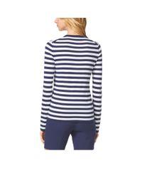 Michael Kors | Blue Striped Compact Cotton Crewneck | Lyst