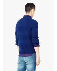 Mango - Blue Stripe Textured Sweater for Men - Lyst