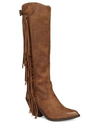 Carlos By Carlos Santana | Brown Lever Fringe Boots | Lyst