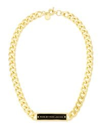 Marc By Marc Jacobs | Chunky Enamel Id Necklace Blackgolden | Lyst