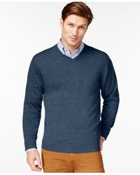 Cutter & Buck - Blue Men's Big And Tall Douglas V-neck Sweater for Men - Lyst