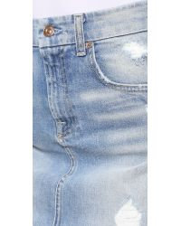 7 For All Mankind - Blue Mid Length Destroyed Pencil Skirt - Lyst