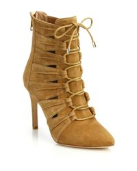 Joie - Brown Jelka Leather Lace-up Booties - Lyst