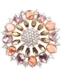 Jones New York | Multicolor Gold-tone Pink Stone And Crystal Cluster Pin | Lyst