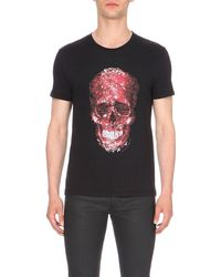 Alexander McQueen | Black Skull-print Cotton-jersey T-shirt for Men | Lyst