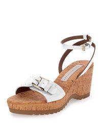 Stella McCartney - White Linda Faux-Patent Sandal - Lyst