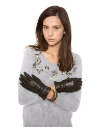 Carolina Amato - Black Full Leather Gloves - Lyst