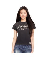 """Polo Ralph Lauren - Black """"polo Rl"""" Embroidered Tee - Lyst"""