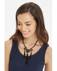 Oasis - Black Tassel And Stone Necklace - Lyst