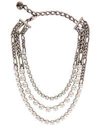 Lanvin - White Faux Pearl Silver Tone Necklace - Lyst