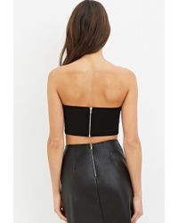 Forever 21 Faux Leather Tube Top In Black Lyst