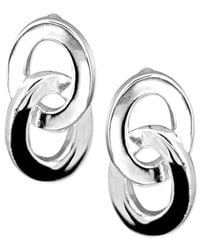 Anne Klein | Metallic Silver Plated Button Post Earrings | Lyst