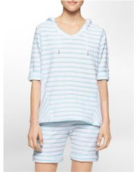 Calvin Klein - Blue White Label Performance Textured Stripe High Low Roll-up Sleeve Pullover - Lyst