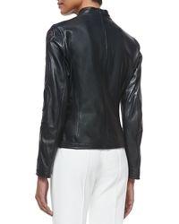 ESCADA - Black Laser-Cut Leather Jacket - Lyst
