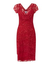 JS Collections | Red Lace Sequin Shutter Dress | Lyst