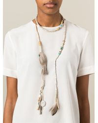 Etro | Gray Long Wrap Feather Tassel Necklace | Lyst