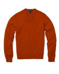 Brooks Brothers | Orange Cashmere V-neck Sweater for Men | Lyst