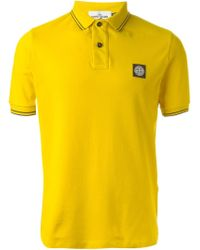 Stone Island | Yellow Logo Patch Polo Shirt for Men | Lyst