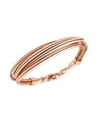 Fossil - Metallic Rose Goldtone Tube Multirow Leather Bracelet - Lyst