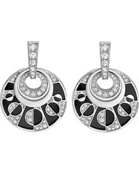 BVLGARI | Intarsio 18Ct White-Gold Earrings With Black Onyx And Pavé Diamonds - For Women | Lyst