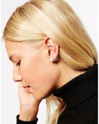 ASOS | Metallic Daisy & Faux Pearl Double Earrings | Lyst