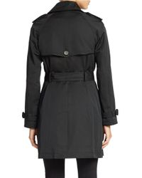Jones New York | Black Petite Double Breasted Belted Trench Coat | Lyst