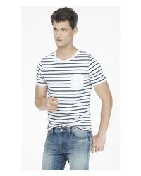 Express | Blue Striped Crew Neck Pocket Tee for Men | Lyst