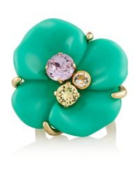 Nina Ricci - Green Goldtone Resin and Crystal Ring - Lyst
