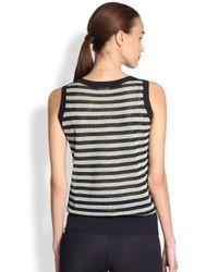 Akris Punto - Blue Striped Mesh Knit Shell - Lyst
