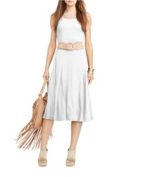 Lauren by Ralph Lauren | White Crochet-trimmed Jersey Dress | Lyst