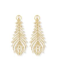 Sutra | Metallic 18k Yellow Gold Diamond Feather Earrings | Lyst