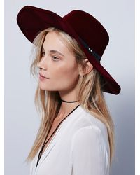 Free People | Purple Velvet Wide Brim H | Lyst