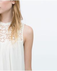 Zara | White Combined Guipure Lace Top | Lyst
