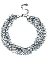 Betsey Johnson | Hematite-Tone Gray Imitation Pearl Torsade Heart Frontal Necklace | Lyst