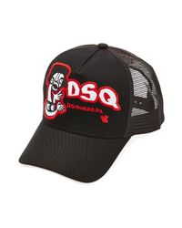 DSquared² | Black Embroidered Baseball Hat for Men | Lyst