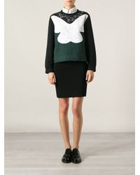 N°21 - Green Lace Paneled Sweatshirt - Lyst