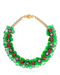 Shourouk | Green Narcis Gold-tone, Bead And Sequin Necklace | Lyst