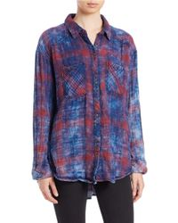 Free People | Blue Plaid Button-down Shirt | Lyst