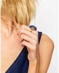 ASOS | Metallic Semi Precious Lapis Stone Fan Ring | Lyst