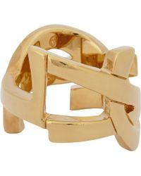 Saint Laurent - Metallic Cassandre Monogram Ring for Men - Lyst