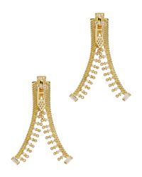 Fallon | Metallic Unzipped 14kt Gold-plated Cubic Zirconia Earrings | Lyst
