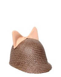 Federica Moretti | Pink Minu Cotton Cat Ears On Woven Straw Hat for Men | Lyst