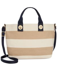 Tommy Hilfiger - Natural Grommets Woven Rugby Stripe Small Tote - Lyst