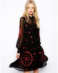 ASOS | Black Midi Smock With Spot Embroidery | Lyst