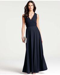 Ann Taylor - Blue Satin Jersey Circle Skirt Gown - Lyst